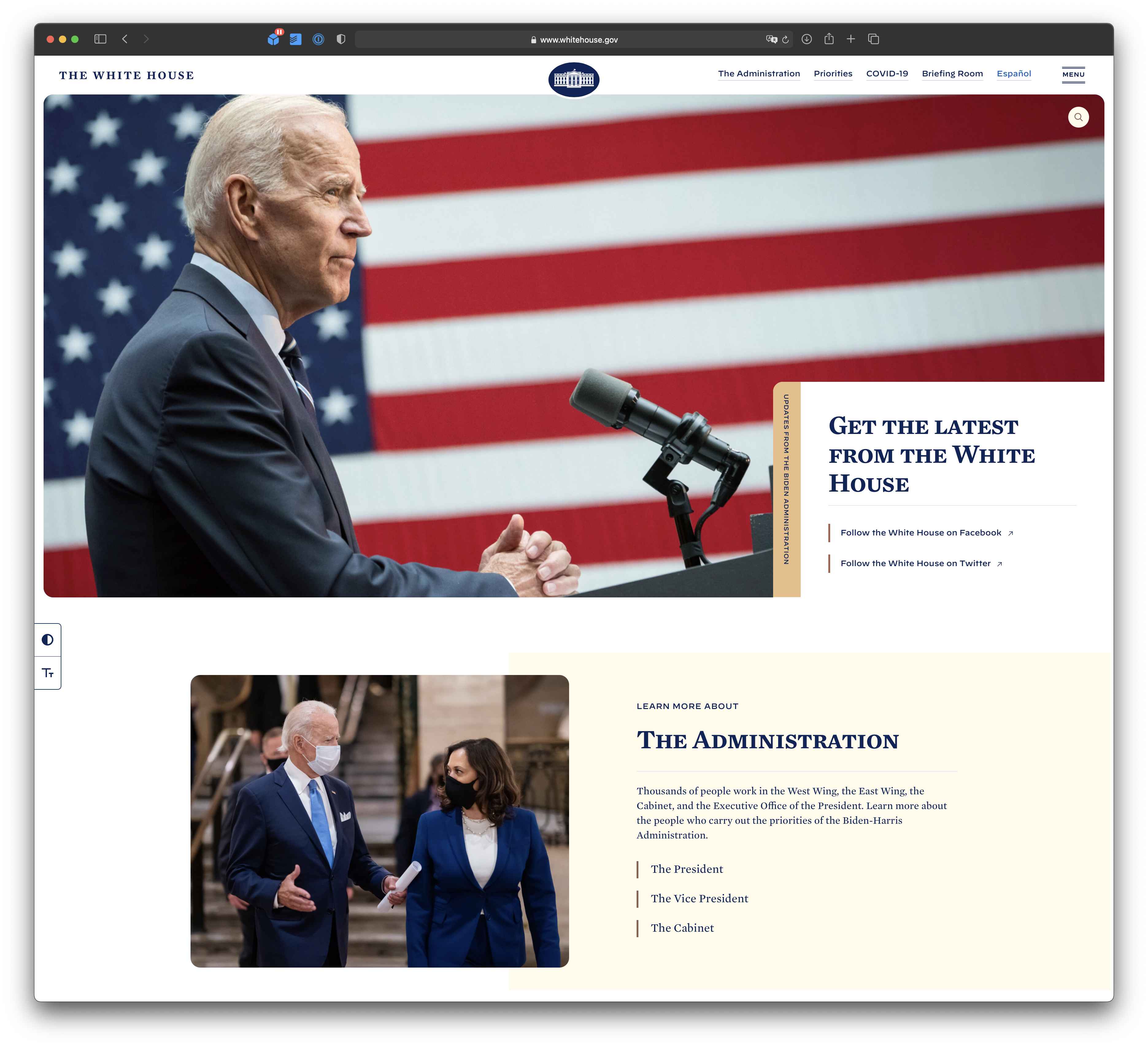 WhiteHouse.gov mobile with ad blocker