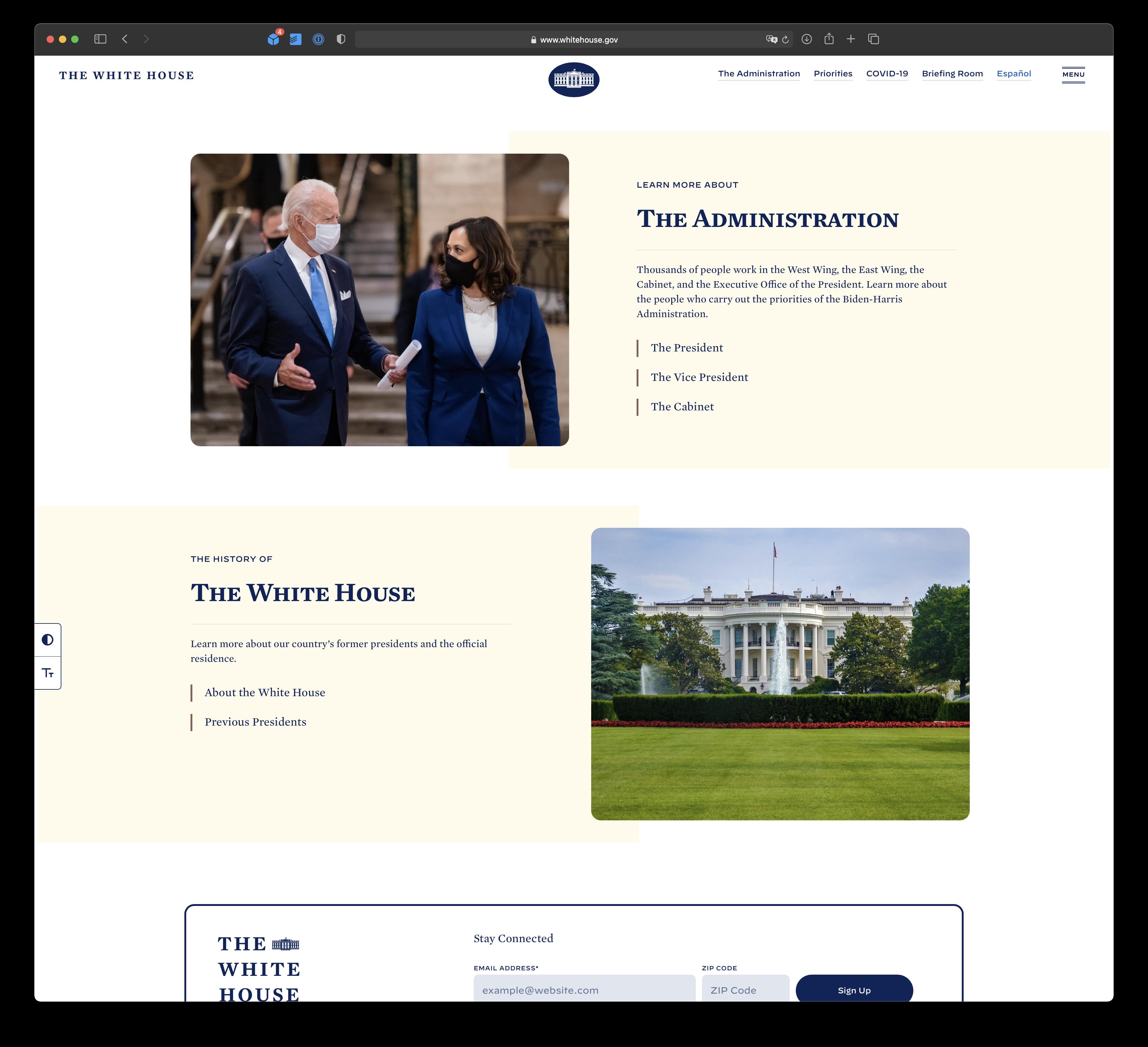 WhiteHouse.gov with ad blocker