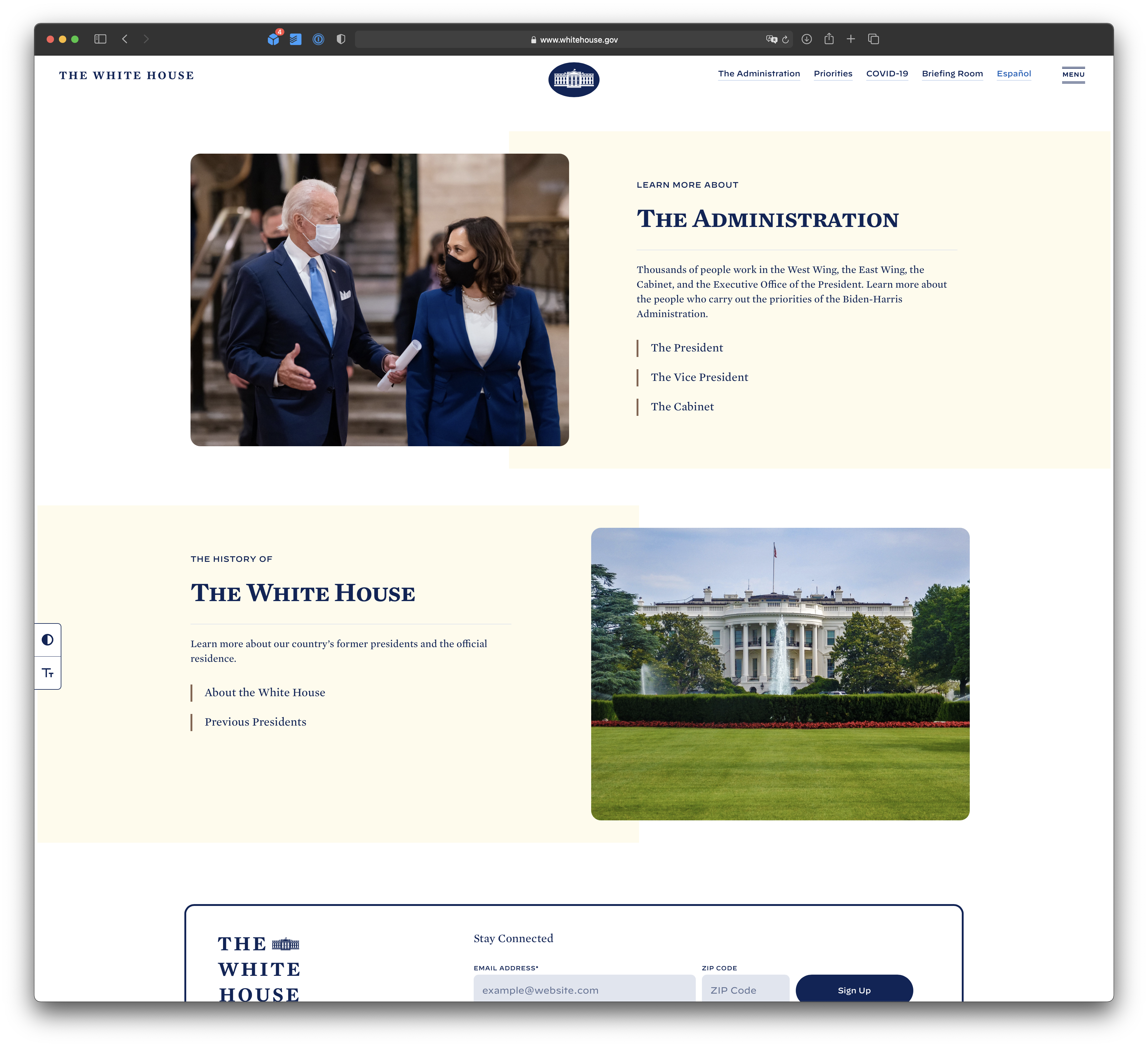 WhiteHouse.gov with ad blocker